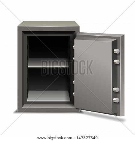 Security metal safe opened isolated on white background.