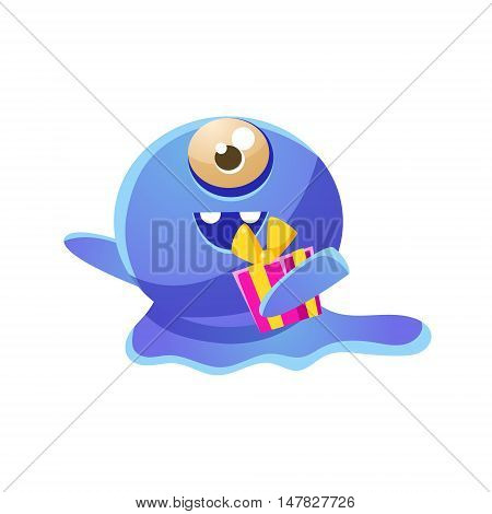 Blue One-eyed Toy Monster Holding A Gift Cute Childish Illustration. Cartoon Colorful Alien Character With Party Attribute Isolated On White Background.