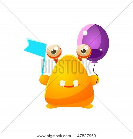 Yellow Toy Monster With Flag And Balloon Cute Childish Illustration. Cartoon Colorful Alien Character With Party Attribute Isolated On White Background.