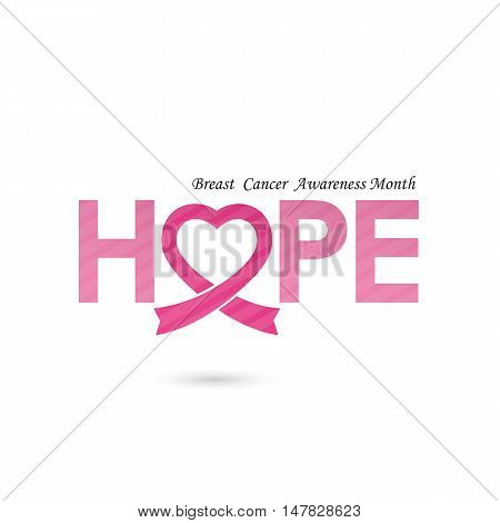 Breast cancer awareness logo design.Breast cancer awareness month icon.Realistic pink ribbon logo.Pink care icon.Hope word logo elements design.Vector illustration