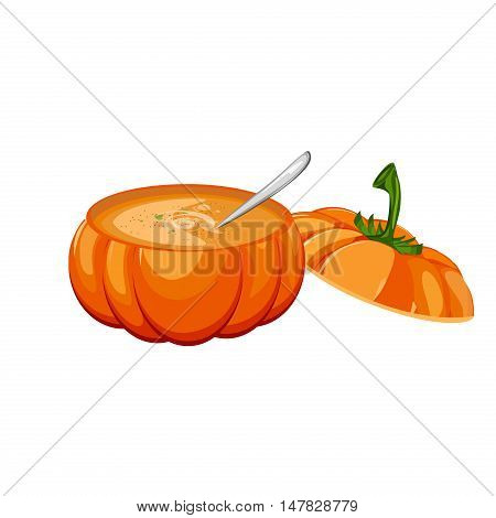 Pumpkin soup in an open pumpkin and more pumpkins in the background. Traditional appetizer tasty creamy pumpkin soup healthy vegetarian cream. Autumn dinner vegetable meal pumpkin soup vector.