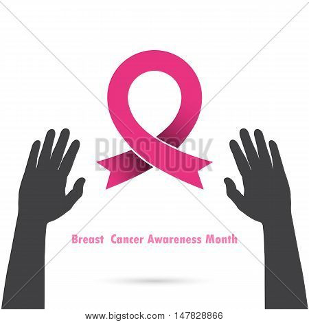 Breast cancer awareness logo design.Breast cancer awareness month icon.Realistic pink ribbon logo.Hand and Pink care logo.Vector illustration