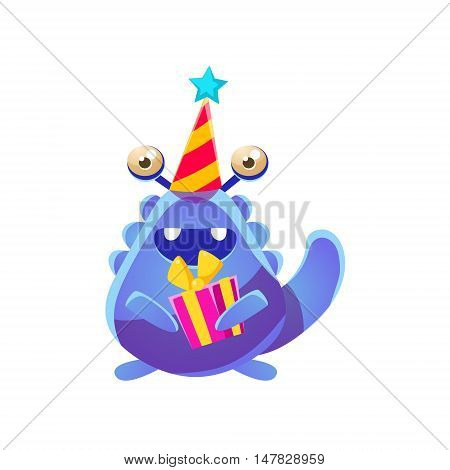 Blue Toy Monster In Party Hat With Present Cute Childish Illustration. Cartoon Colorful Alien Character With Party Attribute Isolated On White Background.