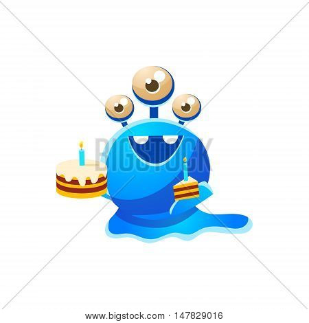Blue Three-Eyed Toy Monster With Full Birthday Cake And A Slice Cute Childish Illustration. Cartoon Colorful Alien Character With Party Attribute Isolated On White Background.