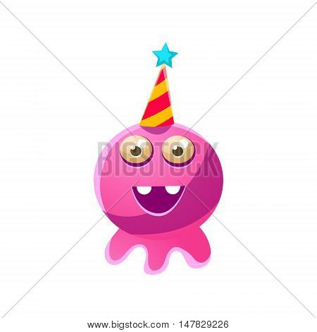 Pink Round Toy Monster In Party Hat Cute Childish Illustration. Cartoon Colorful Alien Character With Party Attribute Isolated On White Background.