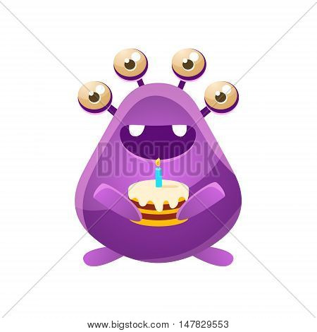 Purple Toy Monster With Birthday Cake Cute Childish Illustration. Cartoon Colorful Alien Character With Party Attribute Isolated On White Background.