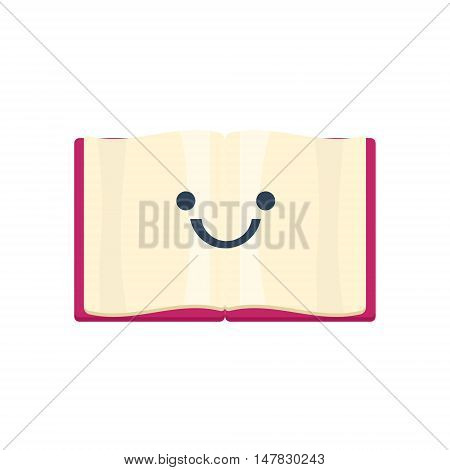 Open Book Primitive Icon With Smiley Face. Office Or School Desk Supply Sticker In Simplified Childish Cartoon Vector Design Isolated On White Background