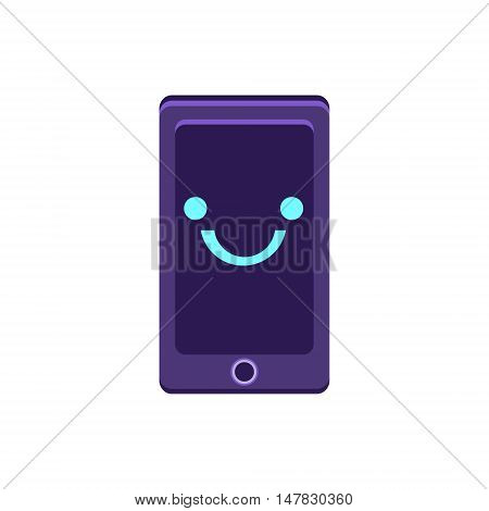 Smartphone Primitive Icon With Smiley Face. Office Or School Desk Supply Sticker In Simplified Childish Cartoon Vector Design Isolated On White Background