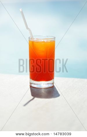 Cocktail near the swimming pool,  shallow depth of field