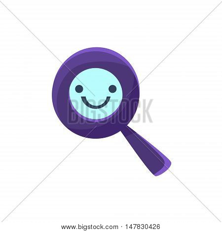 Magnifying Glass Primitive Icon With Smiley Face. Office Or School Desk Supply Sticker In Simplified Childish Cartoon Vector Design Isolated On White Background
