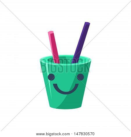Pencil Holder Cup Primitive Icon With Smiley Face. Office Or School Desk Supply Sticker In Simplified Childish Cartoon Vector Design Isolated On White Background