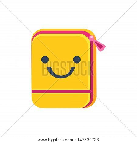 Folder With Zip Primitive Icon With Smiley Face. Office Or School Desk Supply Sticker In Simplified Childish Cartoon Vector Design Isolated On White Background