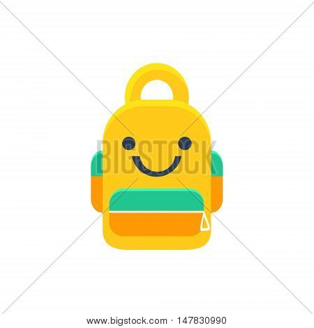School Backpack Primitive Icon With Smiley Face. Office Or School Desk Supply Sticker In Simplified Childish Cartoon Vector Design Isolated On White Background