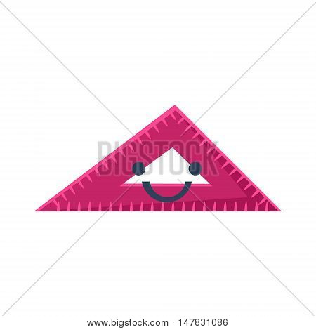 Triangle Ruler Primitive Icon With Smiley Face. Office Or School Desk Supply Sticker In Simplified Childish Cartoon Vector Design Isolated On White Background