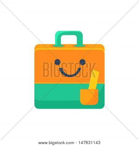Handbag With Pocket Primitive Icon With Smiley Face. Office Or School Desk Supply Sticker In Simplified Childish Cartoon Vector Design Isolated On White Background