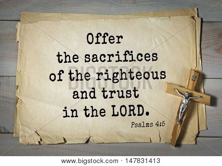 TOP-1000.  Bible verses from Psalms.Offer the sacrifices of the righteous and trust in the LORD.