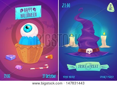 Halloween illustration witch hat and candy with eye . Vector set of happy halloween vintage badges, logos emblems and labels. Halloween cardposter. Vector stock illustration.