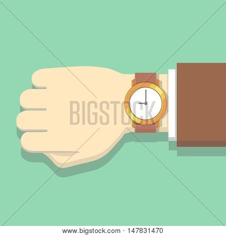 Picture of businessman in suit with watch. Hand with clock isolated on background. Wristwatch on human hand vector illustration