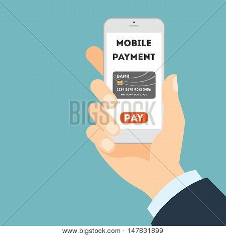Mobile banking concept. Easy transaction with mobile banking. Credit card in smartphone. Payment through internet. Hand holding gadget.