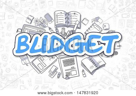 Blue Inscription - Budget. Business Concept with Doodle Icons. Budget - Hand Drawn Illustration for Web Banners and Printed Materials.