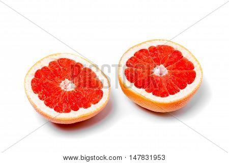 Halves Grapefruit On A White Background