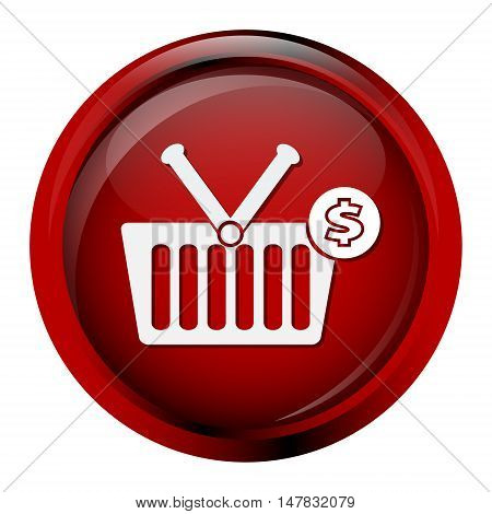 shopping basket with money sign icon vector illustration