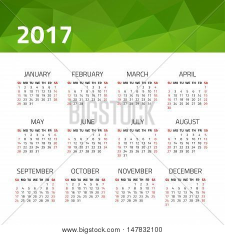 Calendar 2017 year isolated on a white background. Week starts sunday. Design template