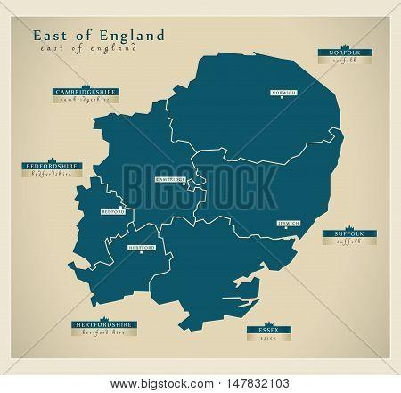 Modern Map - East of England UK vector illustration