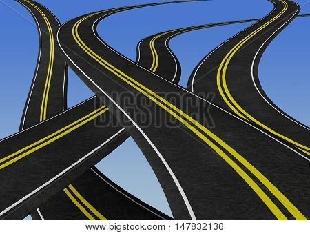 winding roads criss crossing - 3D illustration. Graphic element concept image - business plan road map decisions etc.