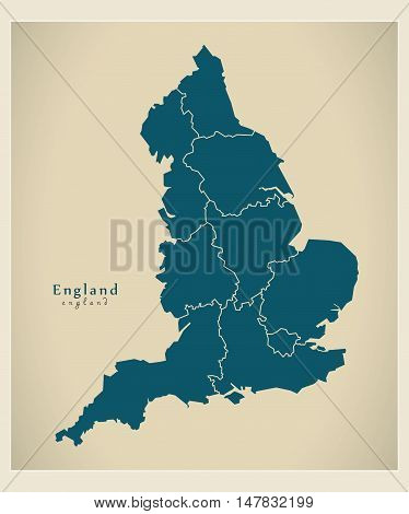 Modern Map - England with counties UK