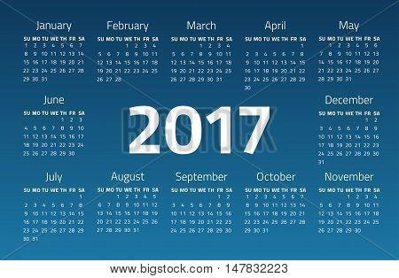 Calendar 2017 year on a blue background. Week starts sunday. Design template