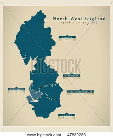 Modern Map - North West England UK