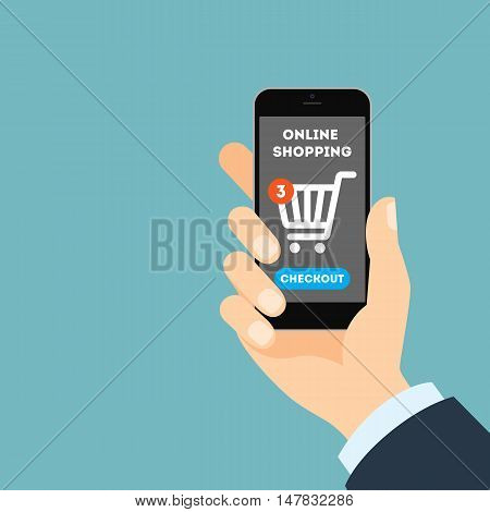 Online shopping concept. Buying products and service through Internet using smartphone. Shopping cart with checkout button.