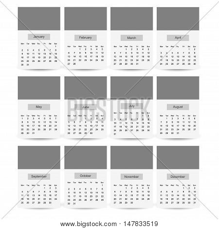 2017 Calendar Planner Design template easy to recolor and edit