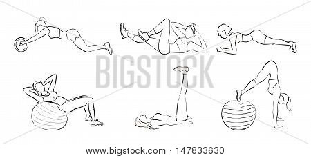 Fitness exercises set.White silhouettes of women doing fitness exercises as leg rises, plank ans more.