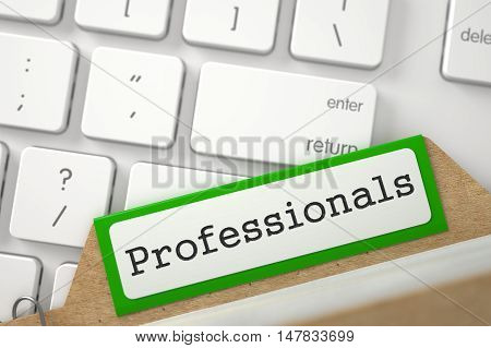 Professionals. Green Archive Bookmarks of Card Index Overlies Modern Metallic Keyboard. Archive Concept. Closeup View. Blurred Image. 3D Rendering.