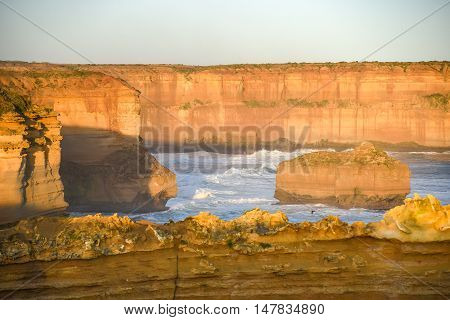 High cliff near Great Ocean Road and the Twelve Apostles natural landmark and tourist attraction of Victoria Australia