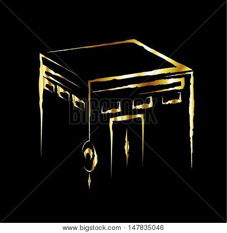 Vector. Isolated illustration of Kaaba, Mekkah. Saudi Arabia. Islamic sacred mosque Al Haram. Golden.