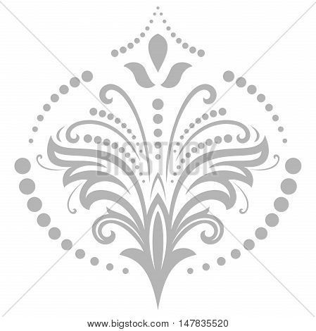 Floral vector light silver, pattern with fine arabesques. Abstract oriental ornament