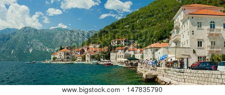 View of the old Perast town, Montenegro