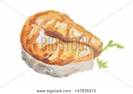Watercolor salmon steak on white background. Healthy seafood with vitamons. Restaurant meal with parsley.