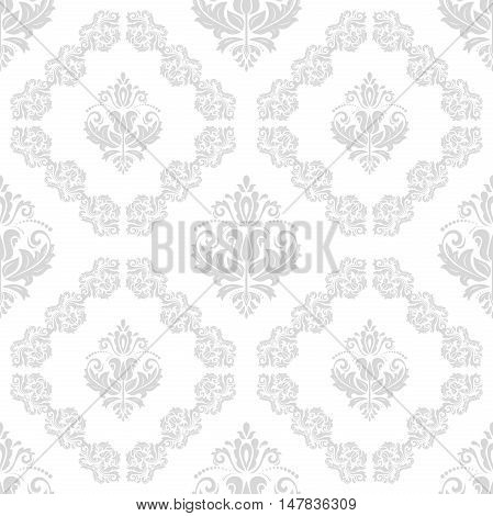 Seamless baroque vector silver pattern. Traditional classic orient ornament