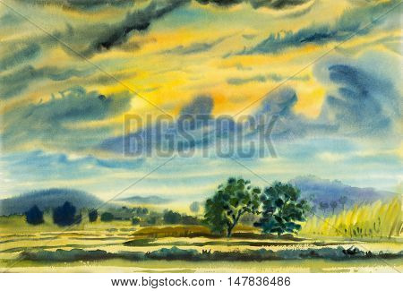 Watercolor landscape original painting colorful of mountain and emotion in blue cloud background