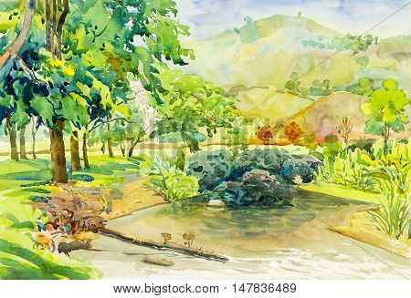 Watercolor landscape original painting colorful of mountain and emotion in blue background