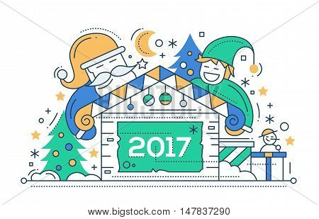 Merry Christmas and Happy New Year 2017 line flat design card with holidays symbols - Santa Claus, elf, house, snowman