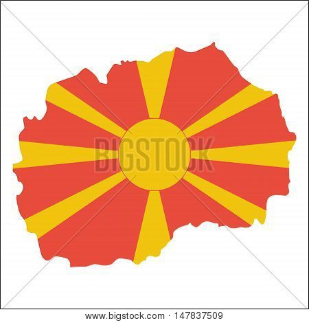 Macedonia, The Former Yugoslav Republic Of High Resolution Map With National Flag. Flag Of The Count