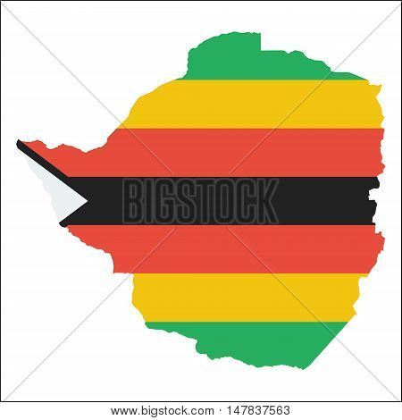 Zimbabwe High Resolution Map With National Flag. Flag Of The Country Overlaid On Detailed Outline Ma