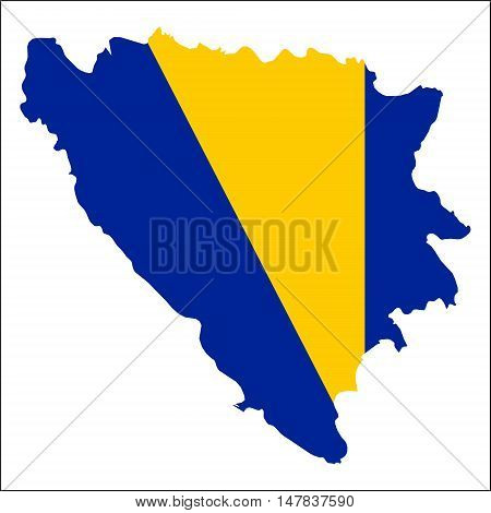 Bosnia And Herzegovina High Resolution Map With National Flag. Flag Of The Country Overlaid On Detai