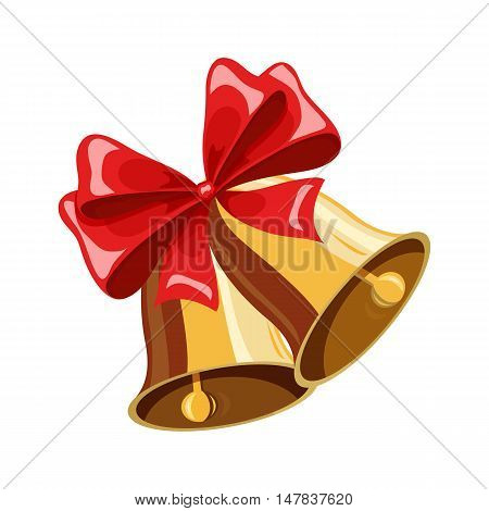 Christmas bell. Christmas holiday object. Christmas bell vector illustration. Cartoon bell with red bow