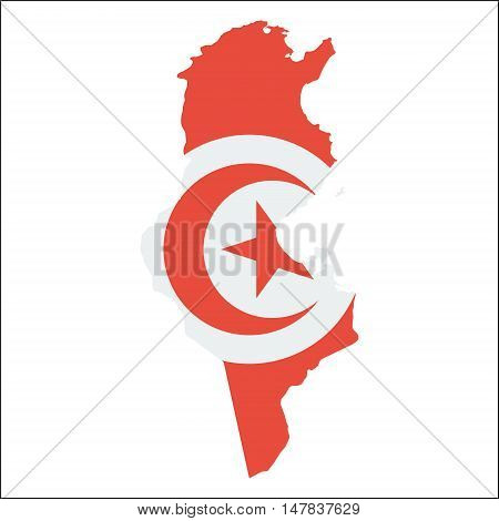 Tunisia High Resolution Map With National Flag. Flag Of The Country Overlaid On Detailed Outline Map